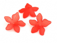 30 Frosted Acrylic lucite Flower Beads 27mm Red